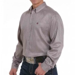 Cinch Gray Geometric Button Down Mens Shirt