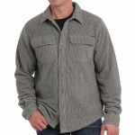 Cinch Mens Heather Khaki Striped Shirt Jacket