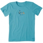 Life is Good Womens Cat Tee Shirt - Bermuda Blue