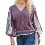 Cruel Womens Purple Surplice Top