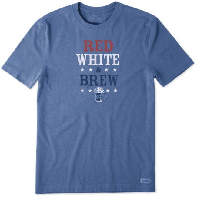 Life is Good Men's Red White Brew Crusher Tee
