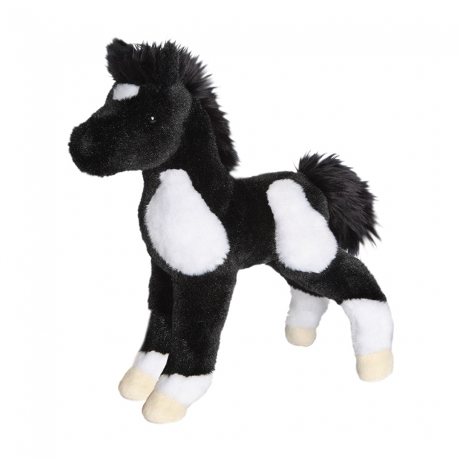 Douglas Plush Runner Black and White Paint Foal