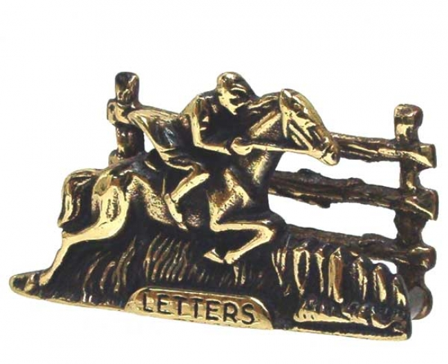 Brass Business Card Holder with Fox Hunter Rider