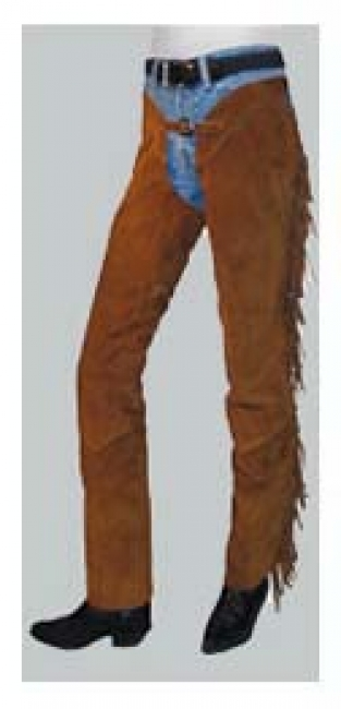 Barnstable Western Boot Cut Suede Chaps With Fringes