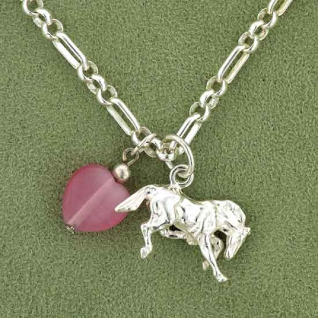 Chippendale Valentine's Collection Silver Frolicking Horse Pendant Necklace