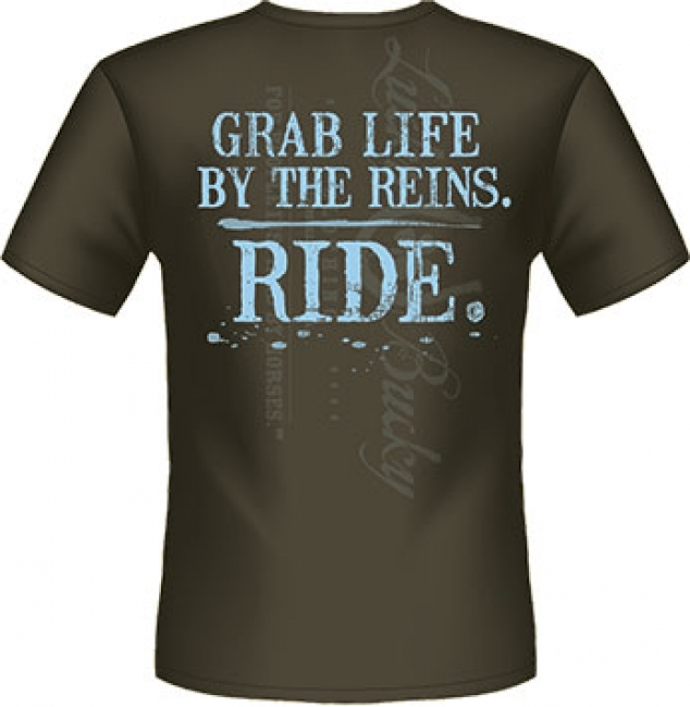 Lucky Bucky Unisex Grab Lifethe Reins RIDE T-Shirt XL