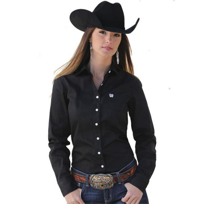 Cinch Women's Solid Black Pinpoint Shirt