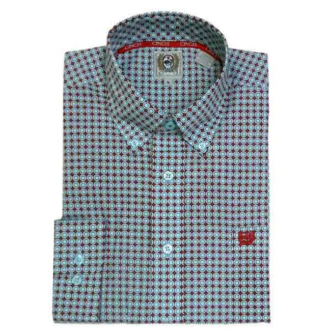 Cinch Men's Teal Print Shirt