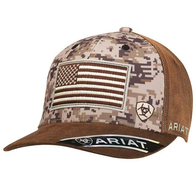 3a9308816c3 Ariat Truckers Cap with American Flag