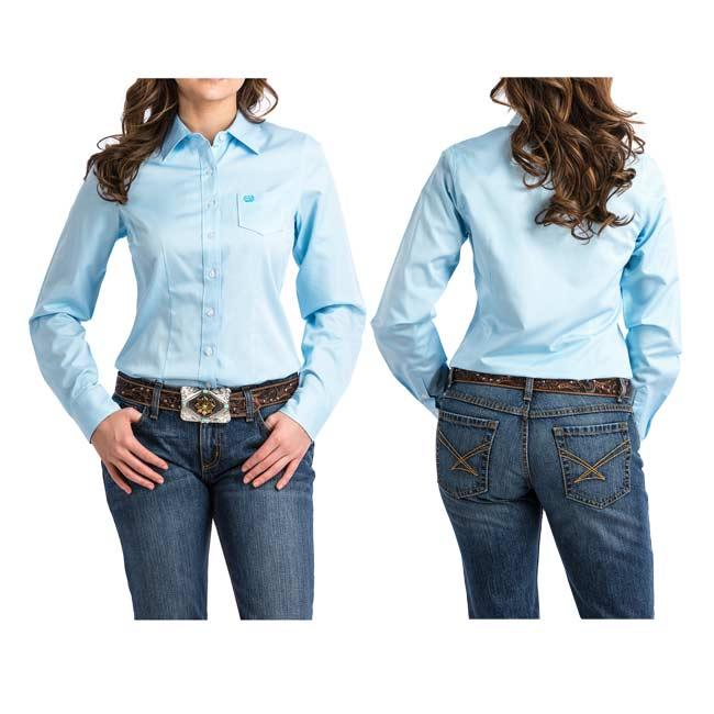Cinch Ladies Light Blue Striped Button Down