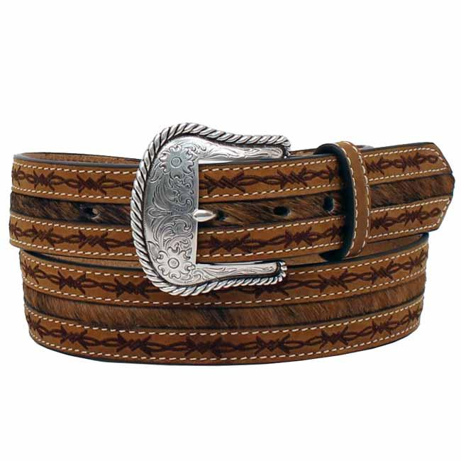 Nocona Men's Western Leather Barb Wire Hair On Belt