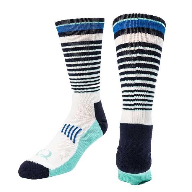 Cinch Crew Socks – White/Blue Multi Striped