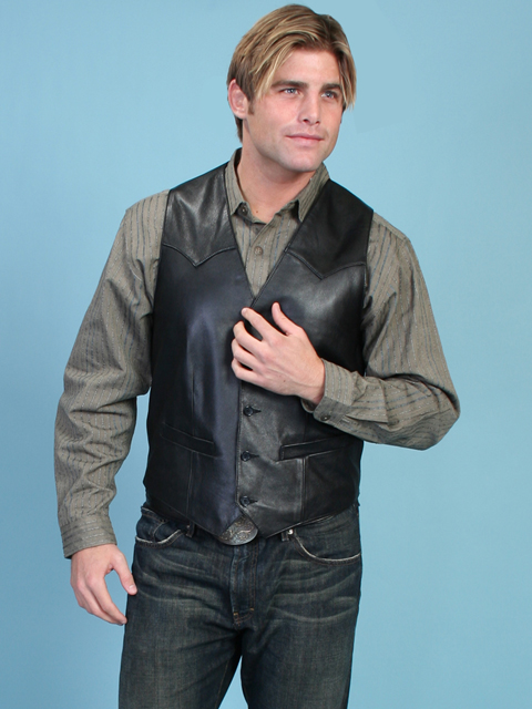Scully Men S Western Vest In Lamb Leather