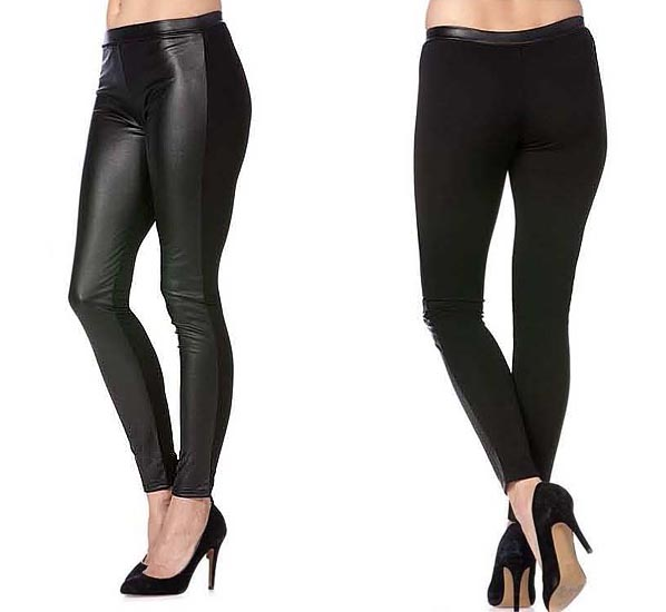Miss Me Faux Leather Panel Black Legging